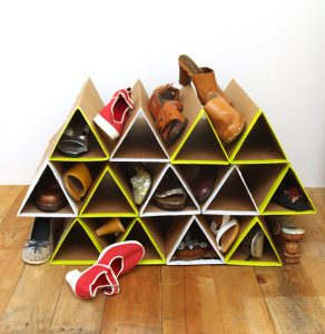 diy-geometric-shoe-rack-of-cardboard-1